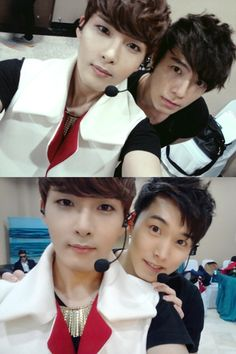 Super Junoir's Ryeowook with bandmates Donghae and Sungmin.