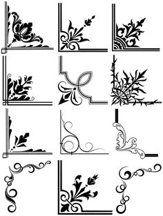 Discover thousands of images about Decorative Corner Frames royalty-free stock vector art Page Borders Design, Border Design, Stencil Patterns, Stencil Designs, Stencils, Borders And Frames, Borders Free, Jugendstil Design, Free Graphics