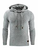 Sexyshine Men's Autumn Winter Casual Long Sleeve Funnel Neck Plaid Jacquard Pullover Hooded Top Sweatshirt Hoodies(LG,M)