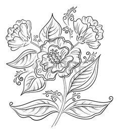 Résumé fleur symbolique, contour noir sur fond illustration vectorielle blanc