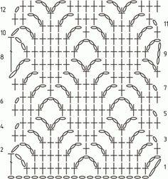 Схема вязания узора Ажурные ромбы крючком