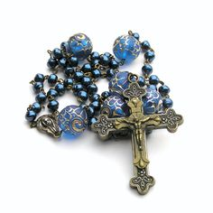 Blue pearl men's catholic rosary