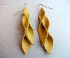 Mustard Yellow Leather Petal Earrings by HaKNiK on Etsy, $20.00