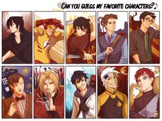 Viria is my spirit animal.   From left to right on both rows: Sirius Black from Harry Potter, Wally West from Young Justice, Zuko from Avatar: The Last Airbender, Spencer Reid from Criminal Minds, James Potter from Harry Potter, The Doctor from Doctor Who, Edward Elric from Fullmetal Alchemist: Brotherhood, Okumura Rin from Au no Exorcist (Blue exorcist), Soul Evans from Soul Eater, and Gaara from Naruto.