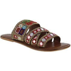 Mia Kalia Leather Blend Slide Sandals (3,440 PHP) ❤ liked on Polyvore featuring shoes, sandals, brown, leather slide sandals, mia shoes, strappy shoes, embroidered shoes and brown slide sandals