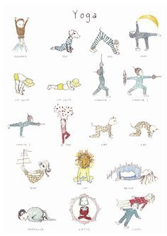 Yoga poster for kids. Helps to inspire little ones to try out a few yoga poses!#kidsyoga