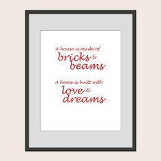 Print A Home is Built With Love & Dreams Love by SpiffyDoodle