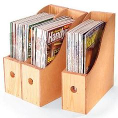 Need a good way to archive your old how-to magazines? Build these simple wood storage bins and have all your important reference materials at your fingertips instead of lost in a towering pile. share if you like