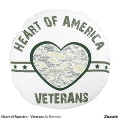 Heart of America - Veterans Round Pillow