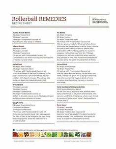 Rollerball remedies recipe sheet