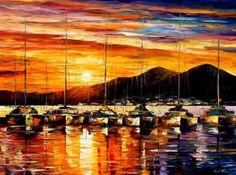 0546  Italy - Naples Harbor- Vesuvius Print by Leonid Afremov