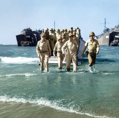 """french-cut: """" General Douglas MacArthur with General Richard Sutherland (left) and Colonel Lloyd Lehrbas (far left) """" Douglas Macarthur, Colorized Photos, Ww2 Photos, Royal Australian Navy, Famous Pictures, Us Navy, World War Two, Historical Photos, Wwii"""