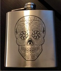 Skull Candy Designed Stainless Steel 6oz Flask by ULEKstore, $13.98