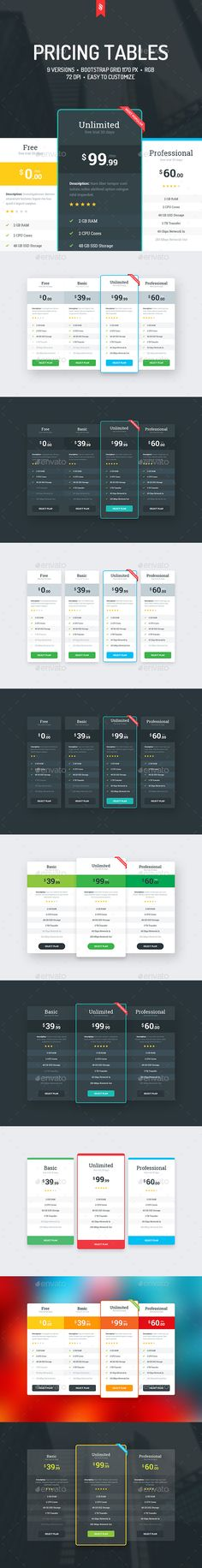 158 best Pricing Tables Templates images on Pinterest - price chart template