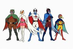 Gatchaman (1972) ~~ Clean character designs were a necessity for hand-drawn cels.