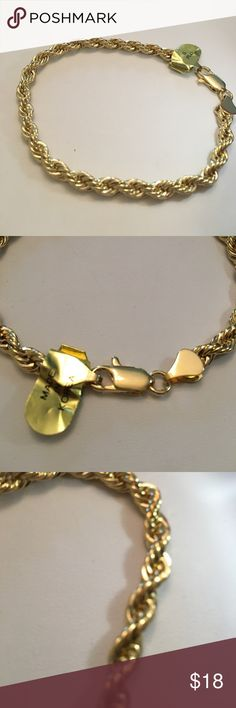 """New gold plated rope chain bracelet 8.25"""" long Brand new. Width 5 mm na Accessories Jewelry"""