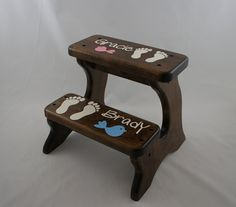 Personalized Footprints Step Stool Alder Wood Pink by LaffyDaffy, $129.99