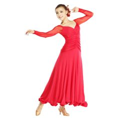 Aliexpress.com : Buy Square dance dress modern dance skirt design long sleeve V neck fishbone one piece dress clothes from Reliable dress up designer clothes suppliers on onehome boutique.
