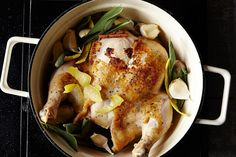 Roasted Milk Chicken | Jamie Oliver (Outstanding.   Used 3.5 lb chicken, 14 cloves garlic, meyer lemon zest, 4 qt All Clad saucepan.  Mine only took 1 hr to cook perhaps I took longer to brown mine on the stovetop.