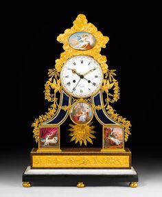 """SKELETTPENDULE """"L'HISTOIRE DE PSYCHE"""" SKELETTPENDULE """"L'HISTOIRE DE PSYCHE"""", Louis XVI, das Zifferblatt sign. KINABLE PARIS, die Malerei sign.J. COTEAU, Paris, um 1790."""