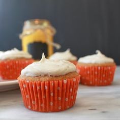 The Land of Milk 'n' Cookies: Pumpkin Banana Cupcakes with Brown Butter Frosting