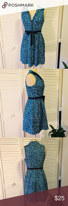 Kensie Polka Dot Dress Gorgeous Teal 50's pinup vibe.  It's been worn once when my daughter modeled it at a custom car show.  Hits about half thigh length. Kensie Dresses