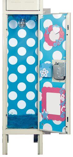 Turquoise Blue & White Polka Dot Locker Wallpaper by LuvUrLocker, $22.99