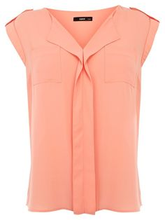 Military Draped Top, Coral, Oasis