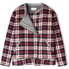 ba&sh Eugene Plaid Bomber Jacket ($216) ❤ liked on Polyvore featuring outerwear, jackets, coats & jackets, coats, asymmetrical zipper jacket, tartan jacket, asymmetrical zip jacket, long sleeve jacket and blouson jacket
