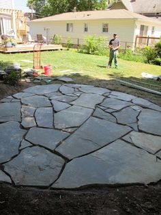 New stone patio - how to build and install a flagstone patio.