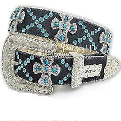 S M Western BHW Turquoise Cross Hair Hide Leather Black Blue Belt Rodeo Cowgirl #BHW