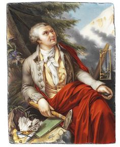 JEAN JACQUES ULRICH JOSEPH VAUCHER-STRUBING (SWISS, 1766-1827)   Horace Bénédict de Saussure (1740-1799), seated under a pine tree with snowy mountain in the background, in grey jacket, yellow waistcoat with covered yellow buttons, knotted white cravat, orange cloak draped around his shoulders and over his legs, holding a large hammer in his left hand and a mineral specimen in his right hand, the spine of a green covered book entitled 'De Saussure Professeur 1784' lying on a rock beside him… Alpine Flowers, Alpine Plants, Oil Portrait, Snowy Mountains, Cravat, Pine Tree, Cloak, Gray Jacket, Science And Nature