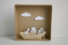 paper boat diorama by cara carmina Matchbox Crafts, Matchbox Art, Paper Art, Paper Crafts, Diy Crafts, Art For Kids, Crafts For Kids, Creation Deco, Paper Illustration