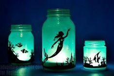 DIY Mason Jar Mermaid Craft diy mermaid lantern jar mason jar ideas mason jar crafts diy crafts diy ideas diy and crafts Pot Mason, Mason Jar Crafts, Mason Jar Diy, Fairy Lanterns, Mason Jar Lanterns, Mermaid Bedroom, Mermaid Nursery, Mermaid Crafts, Mermaid Diy