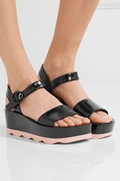 Heel measures approximately 60mm/ 2.5 inches with a 40mm/ 1.5 inches platform Black glossed-leather Buckle-fastening strap Made in Italy