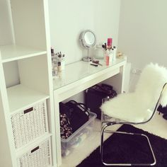My dressing room is taking shape. Went for Dulux Polished Pebble on the walls. Cream carpet. Ikea Malm dressing table and Kallax shelves. #dressingroom #white #dressingtable