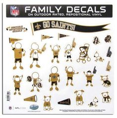 "New Orleans Saints 11""x11"" Family Car Decal Sheet"