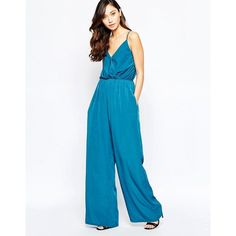 Love Cami Strap Jumpsuit ($46) ❤ liked on Polyvore featuring jumpsuits, blue, v neck jumpsuit, wrap jumpsuits, white jump suit, white camisole and blue cami