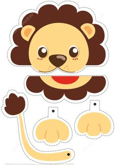 Printable Paper Crafts Templates Lion Simple Paper Craft From Animals Category Hundreds Of Free Kids Crafts, Animal Crafts For Kids, Art For Kids, Animals For Kids, Paper Bag Crafts, Paper Toys, Paper Crafting, Shape Activities Kindergarten, Craft Activities