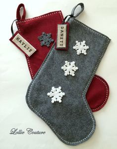 Snowflake Christmas Wool Felt Stockings. by ModernStyleHoliday
