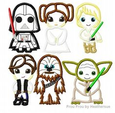 Space Wars SIX Cuties Little Prince and Princess Machine Applique Embroidery Designs SET, Multiple Sizes, INCLUDING 4 INCH