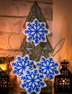 Excited to share the latest addition to my #etsy shop: Four Handmade Scandinavian Snowflakes, Felt Embroidered Christmas Ornaments, Nordic Snowflakes, Christmas Tree Hangings, Home Ornaments http://etsy.me/2zmoSwp