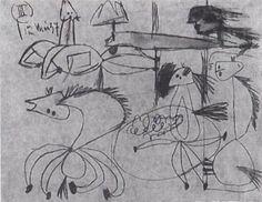 """Picasso. Estudio para """"Guernica"""", 1 de Mayo de 1937 Lápiz sobre papel azul, 21 x26 cm. (Todos los bocetos están expuestos junto al Guernica en el  Museo Reina Sofía de Madrid.)"""