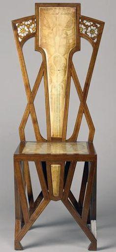 Art Déco - Chaise Dossier Haut - Acajou, Olivier, Bois Exotique Marqueté et Parchemin - A.De Vecchi - Vers 1904