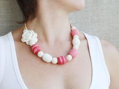 Nursing necklace White red pink necklace by 100crochetnecklaces