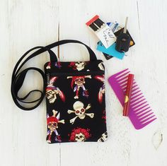 Pirate Skull Crossbody Bag  Rockabilly Purse  Hip by OleanderMoon