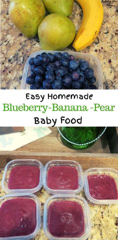 5 minute Blueberry Banana Pear Baby Food Puree Easy DIY No Cook Blueberry Banana Pear Baby Food. A simple fruit puree made homemade to control the ingredients to whole foods. Use in reusable pouches or freeze for easy meals later. Avocado Baby Food, Banana Baby Food, Baby Fruit, Healthy Baby Food, Healthy Lunches, Baby Food Recipes Stage 1, Baby Food By Age, Instant Pot Baby Food, Fingerfood Baby