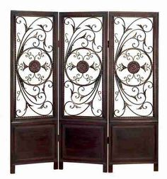 Toscana Wood and Metal 3-Panel Decorative Screen
