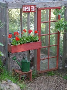 Using a screen door as an entrance to a chicken coop is delightfully adorable.
