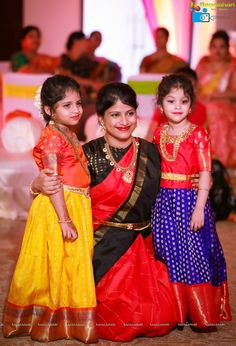 Photos - Half Saree Function of Hiya - Daughter of Famous Jewellery Designer Swetha Reddy - Image 1022 Kids Party Wear Dresses, Kids Dress Wear, Kids Gown, Dresses Kids Girl, Kids Wear, Baby Dresses, Half Saree Designs, Kurta Designs, Half Saree Function